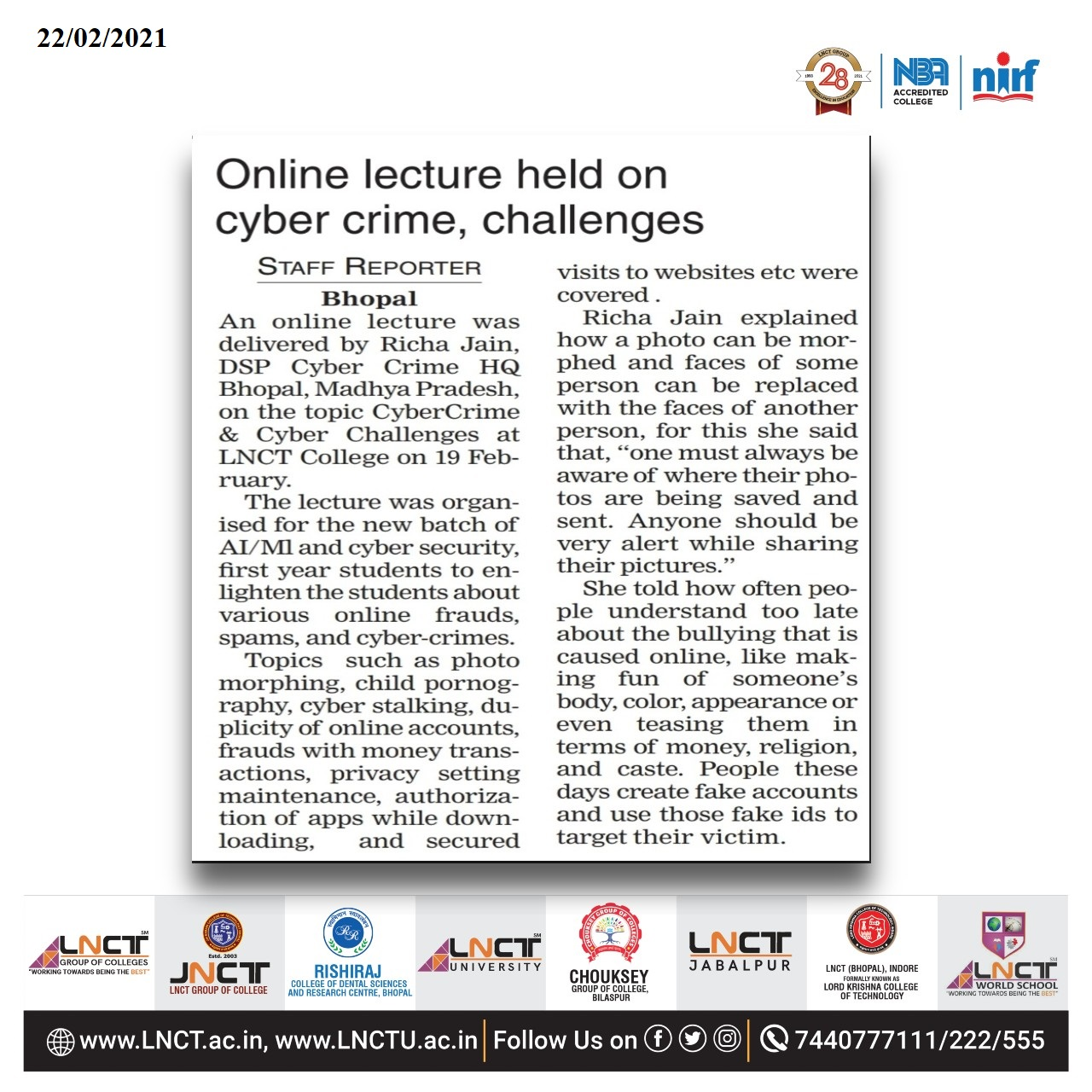 Online Lecture Held on cyber crime challenges 1