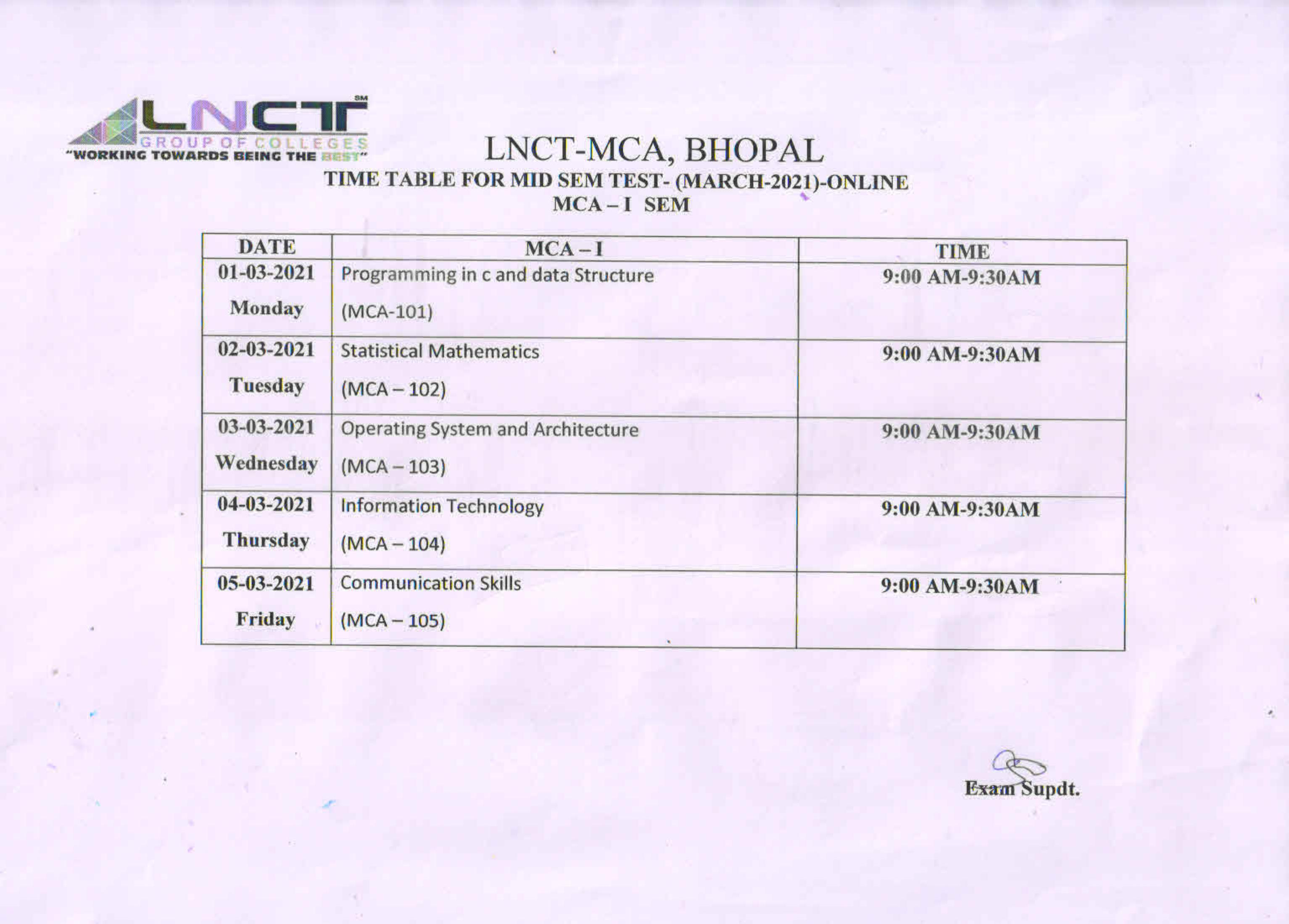 Time Table For MCA I SEM MID SEM Test March 2021 1