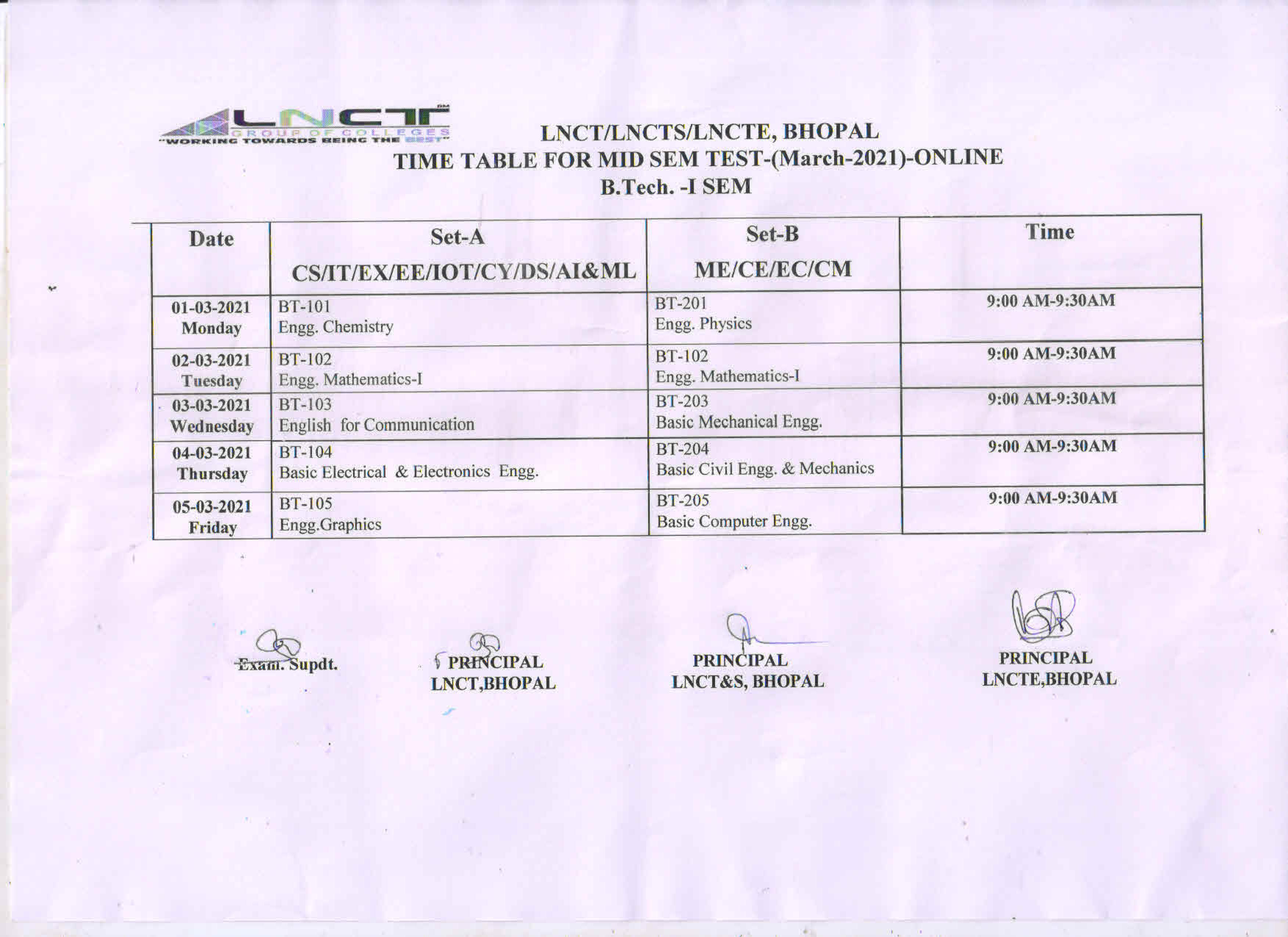 Time Table for Mid Sem Test B. Tech -I Sem 1