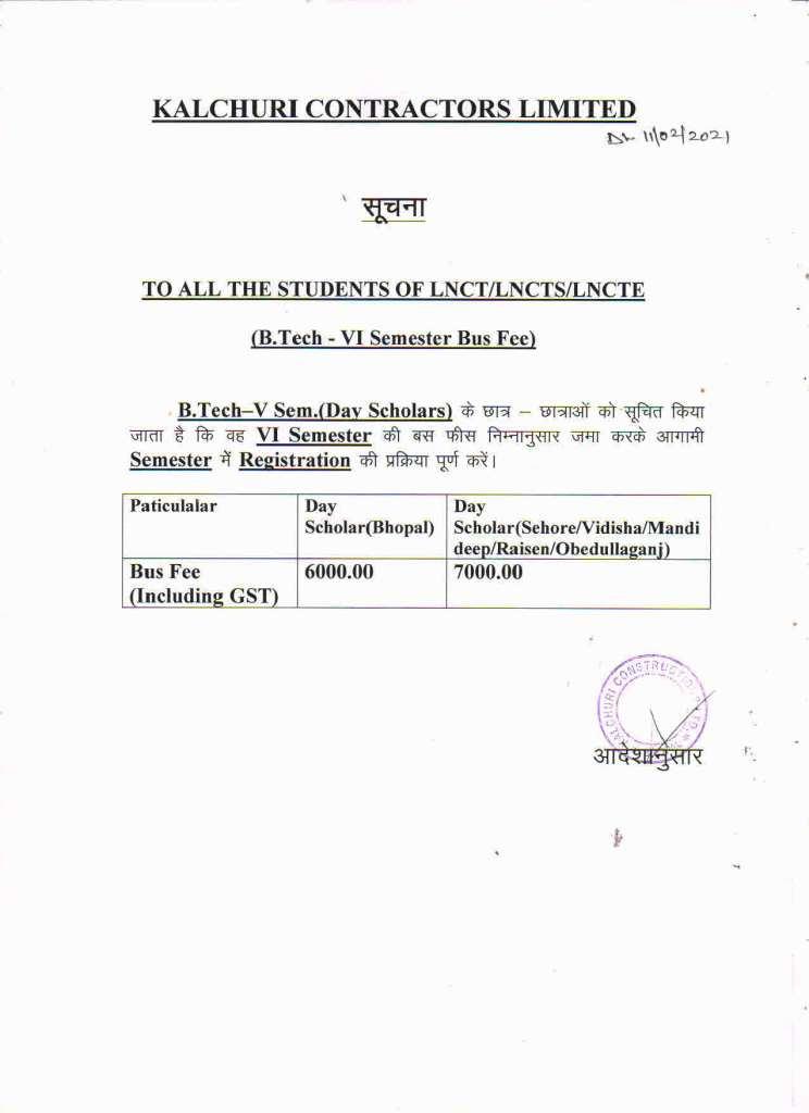 Important Notice Regarding Bus Fee 1