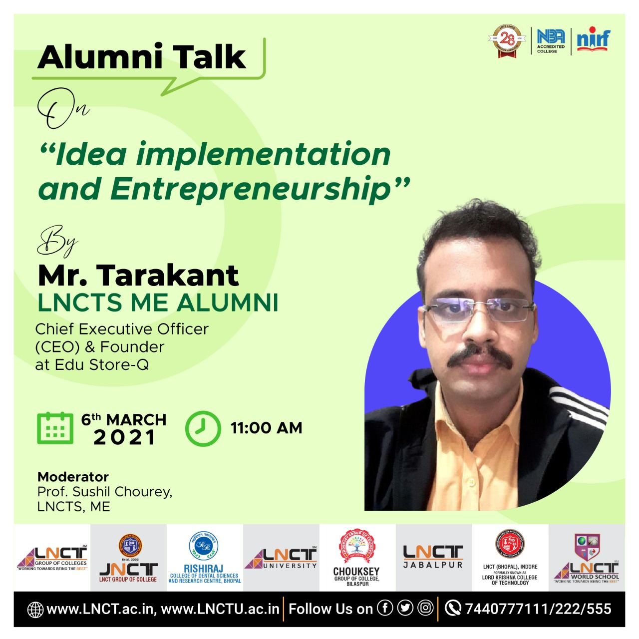 Alumni Talk | Idea Implementation and Entrepreneurship by Mr.Tarakant (CEO & Founder) at Edu Store-Q 1
