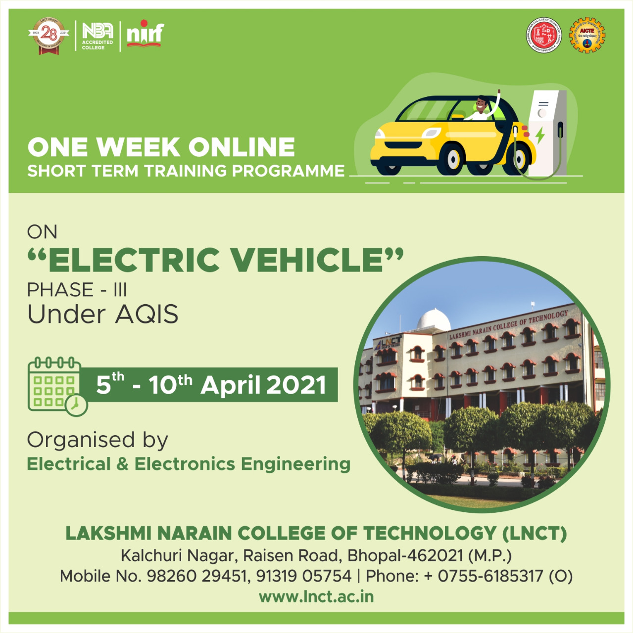 One Week Online Short Term Training Programme on Electric Vehicle Phase - III 1
