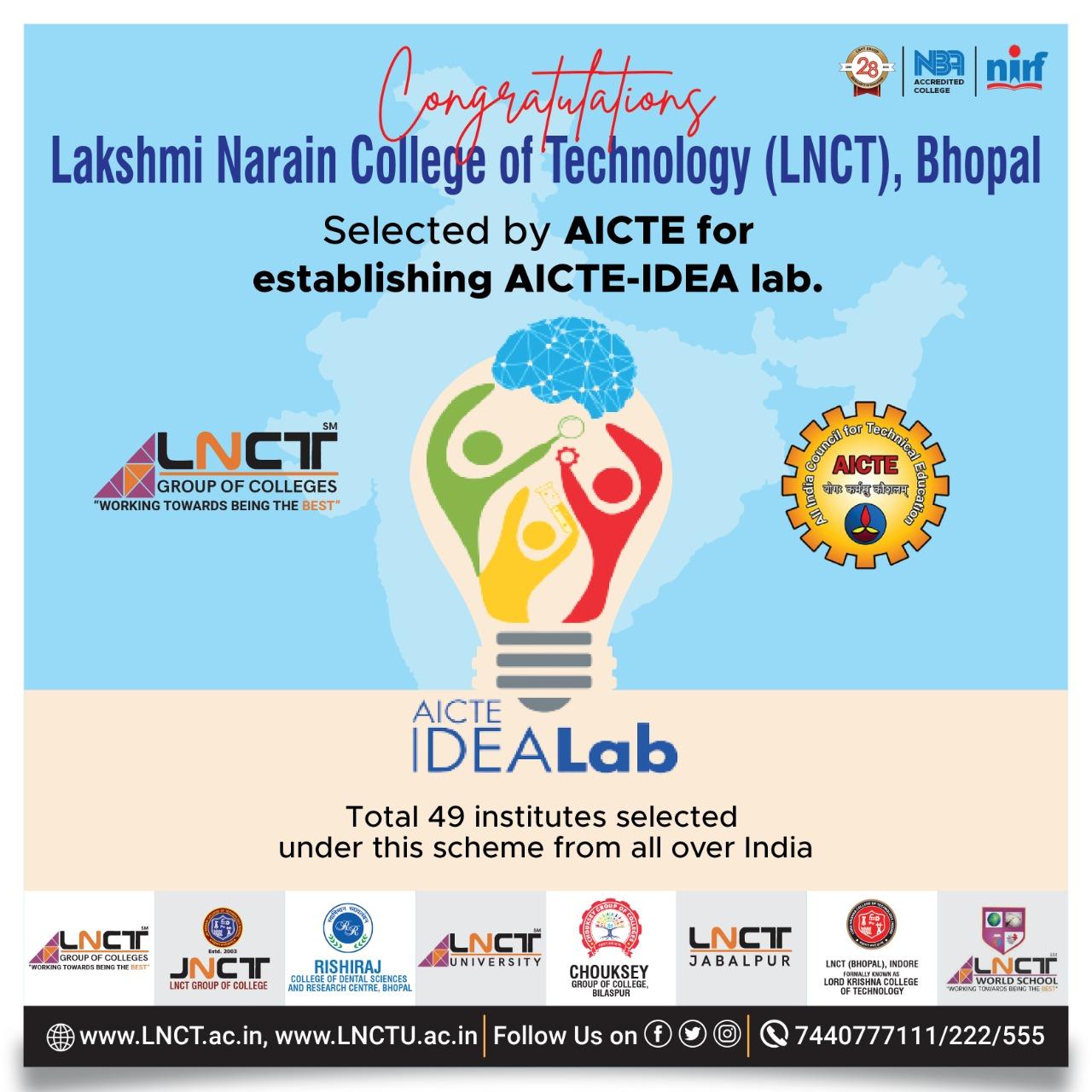LNCT, Bhopal Selected by AICTE For establishing AICTE - IDEA Lab 4