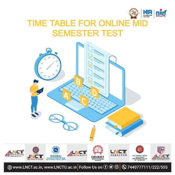 Time Table For Online Mid Semester Test 1