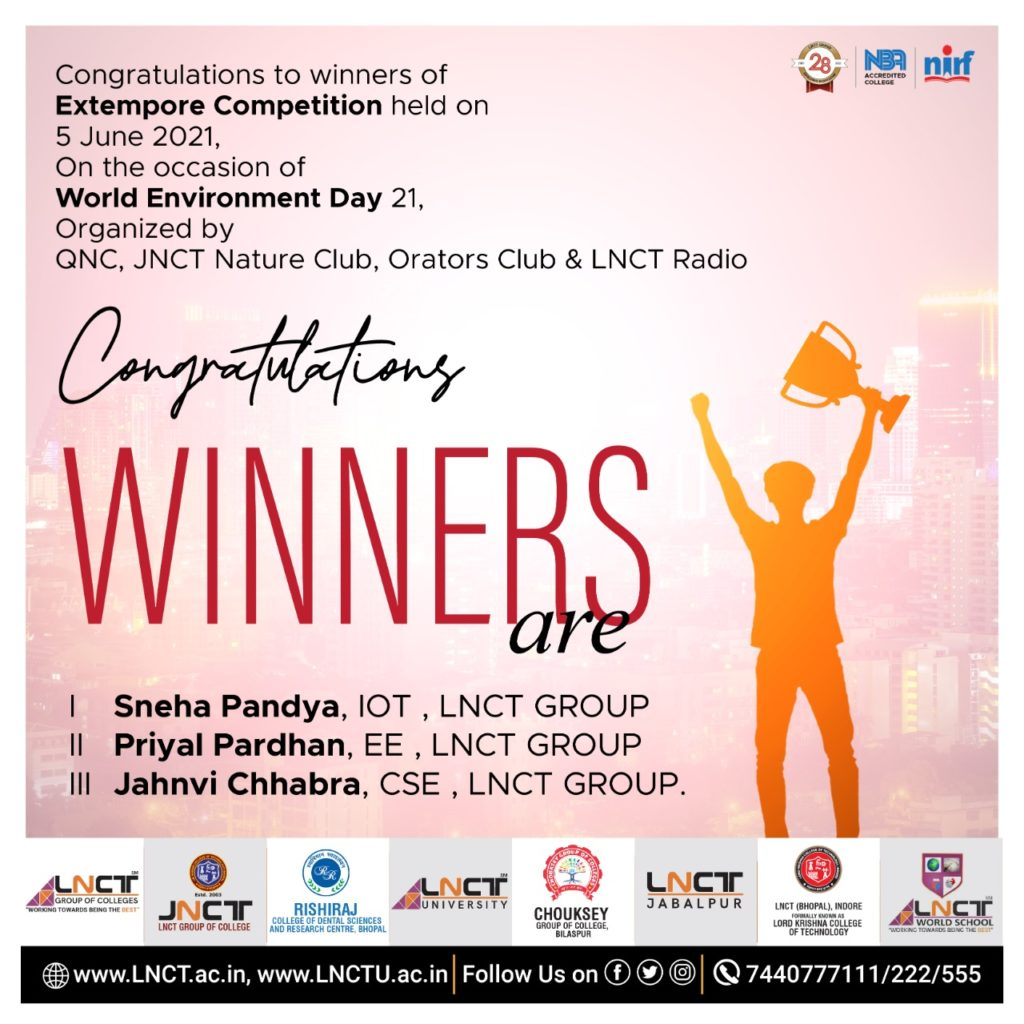 Winners of Extempore Competition held on 5 June 2021 1