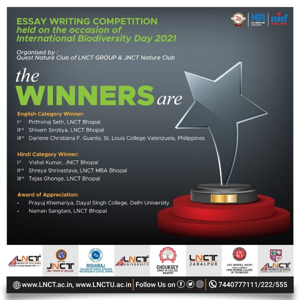 Winners | Online Essay Writing Competition Biodiversity Day 2021 1