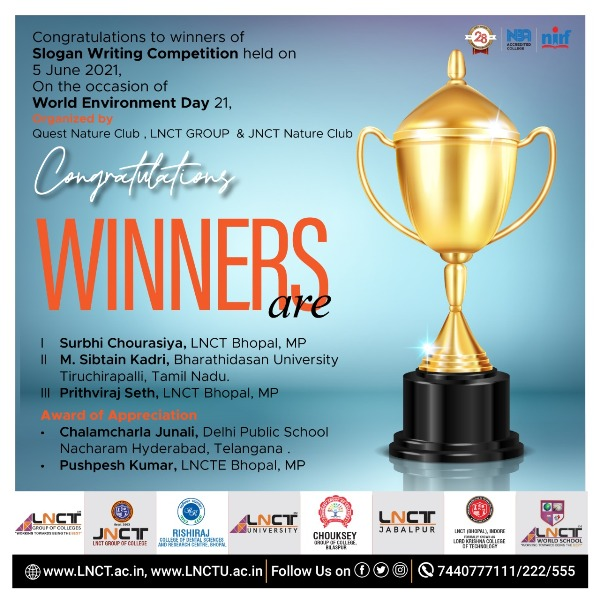 Winners of Slogan Writing Competition held On the occasion of World Environment Day 6