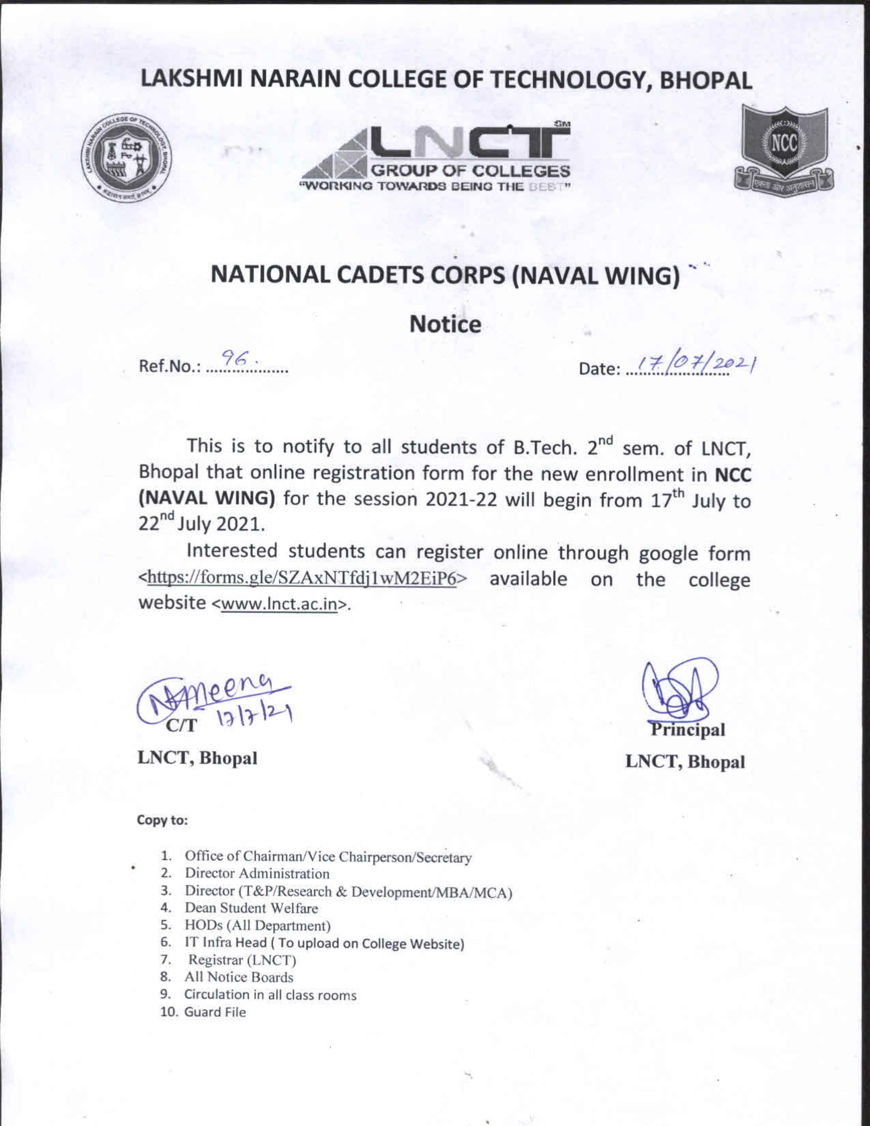 Notice 96 - National Cadets Corps 1