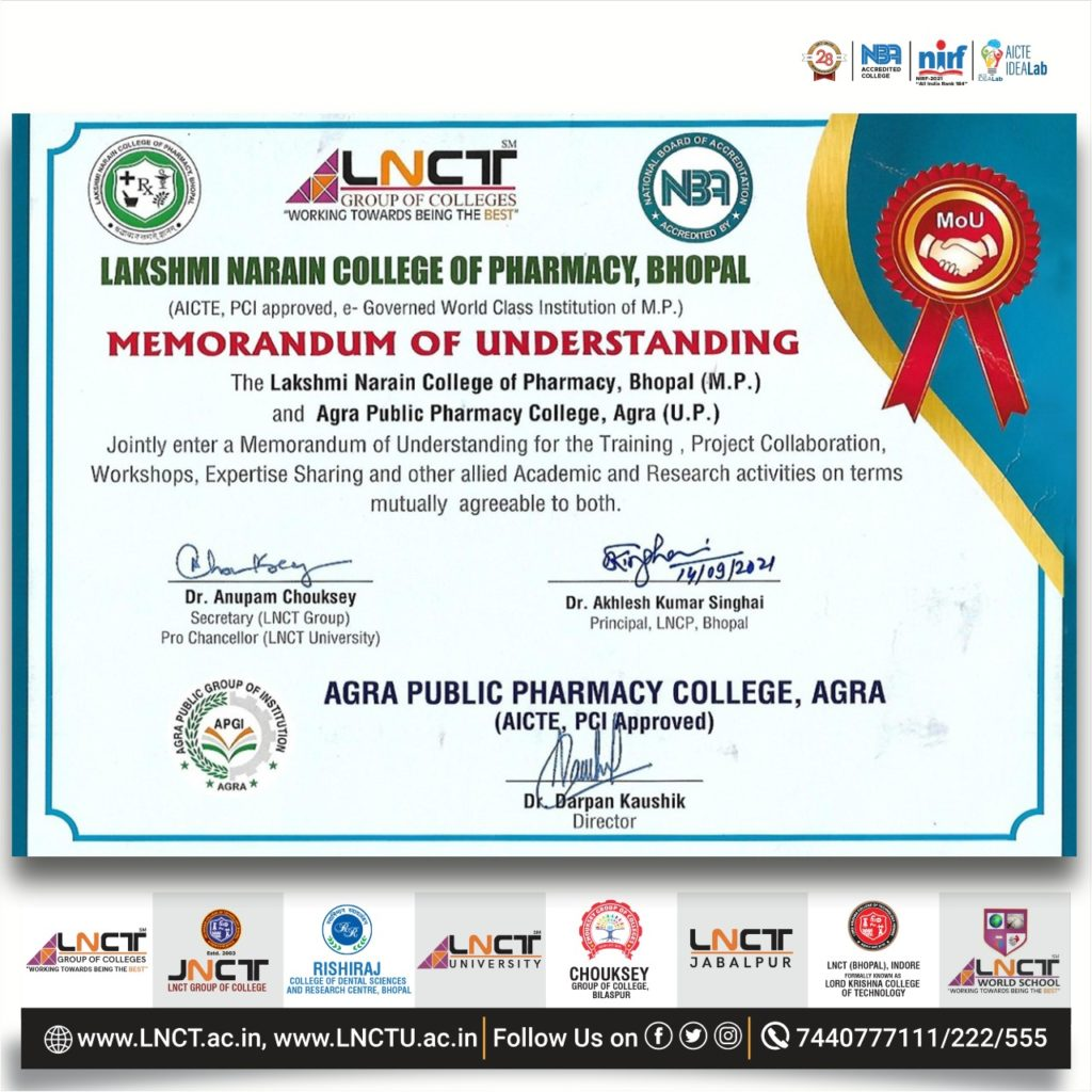 Agra Public Pharmacy College, Agra and Lakshmi Narain College of Pharmacy, Bhopal have signed an MOU 1